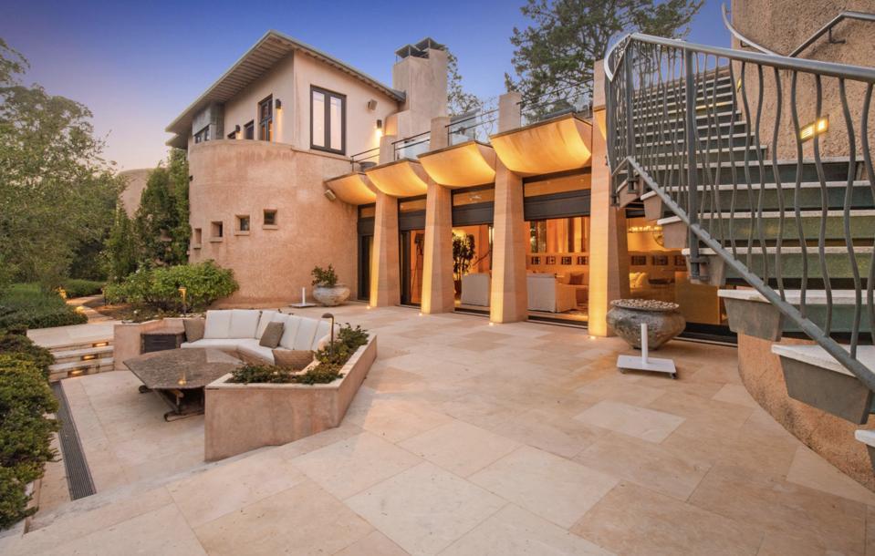 Adobe style, patio, back yard, firepit