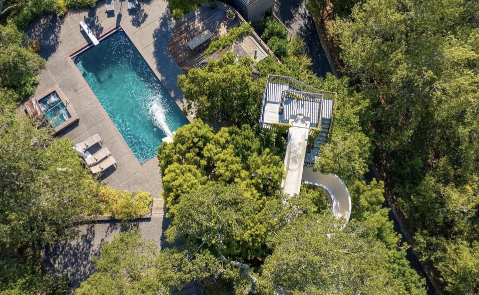 water slide, pool, private water slide