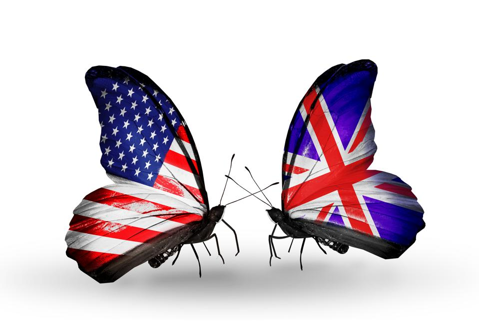 Two butterflies with flags on wings