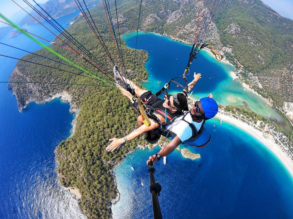 Americans paragliding in Croatia, Europe