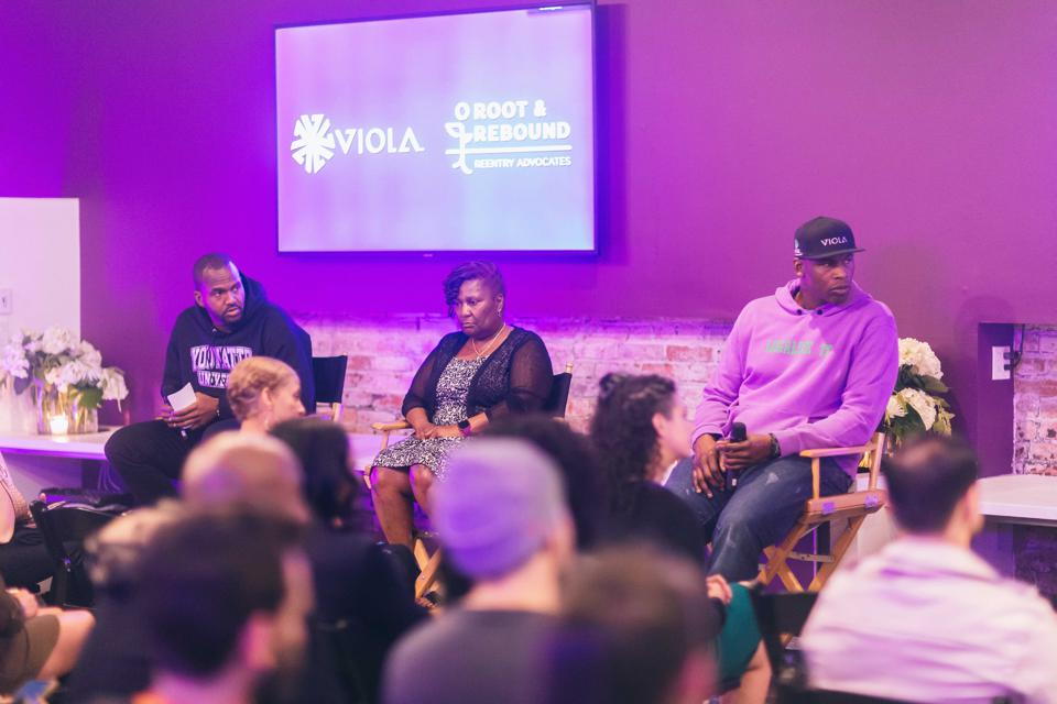 From Viola Cares launch event. Pictured (left to right): moderator Van Lathan, Sandra Johnson of Root and Rebound and Al Harrington, CEO and founder of Viola