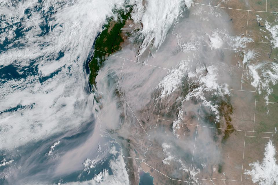 GOES-17 satellite imagery shows smoke across the western US.