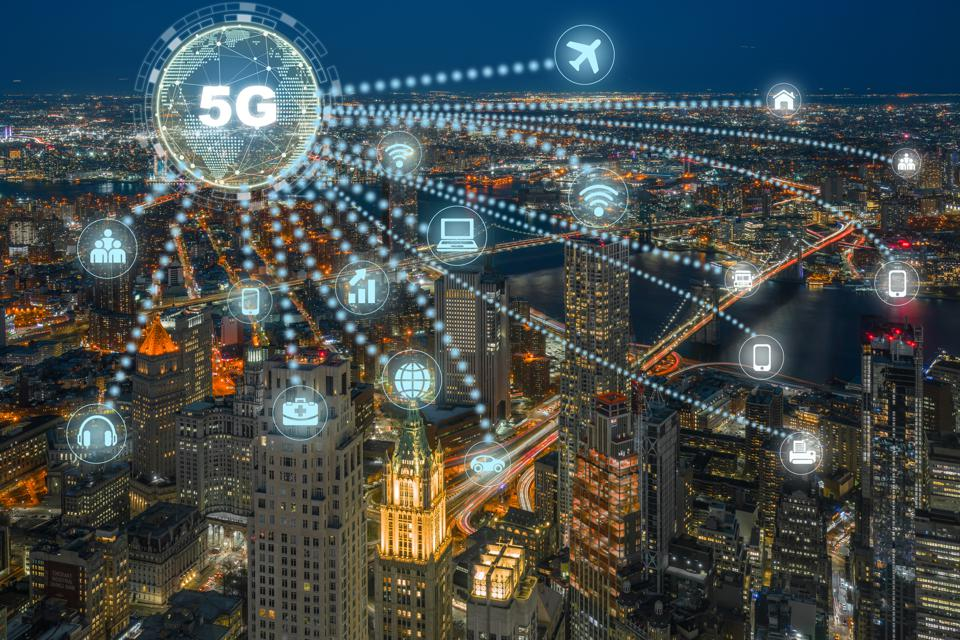 5G technology over Top view of new work Cityscape