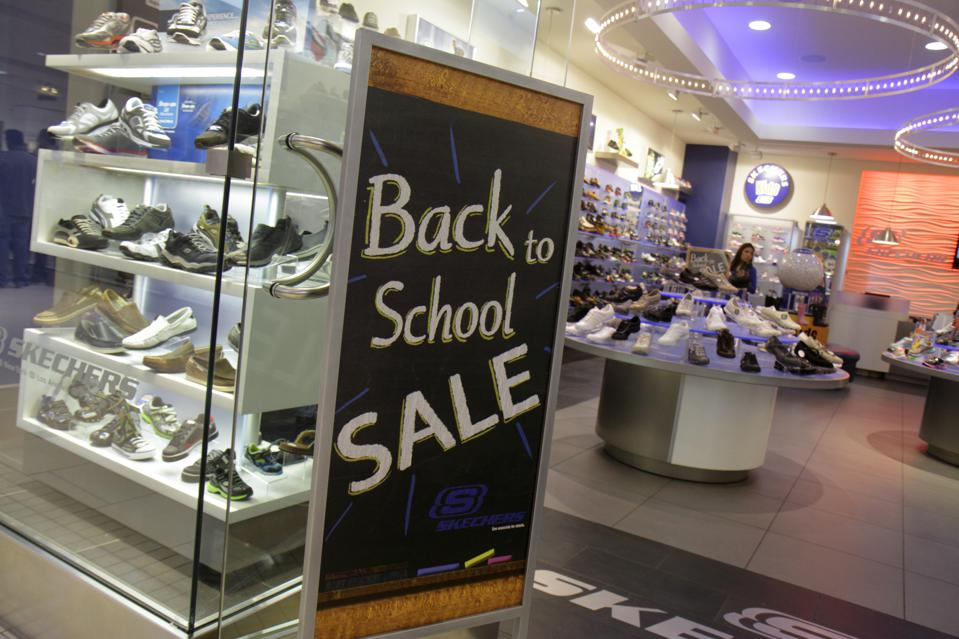Back to school sale sign in the entrance to Skechers.
