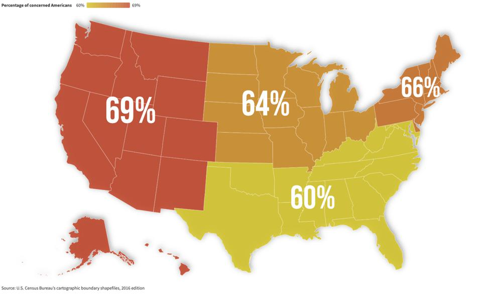 Percentage of voters concerned with schools reopening, by region.