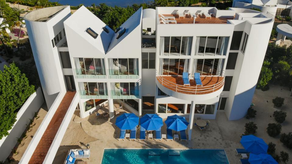 A white, geometric villa