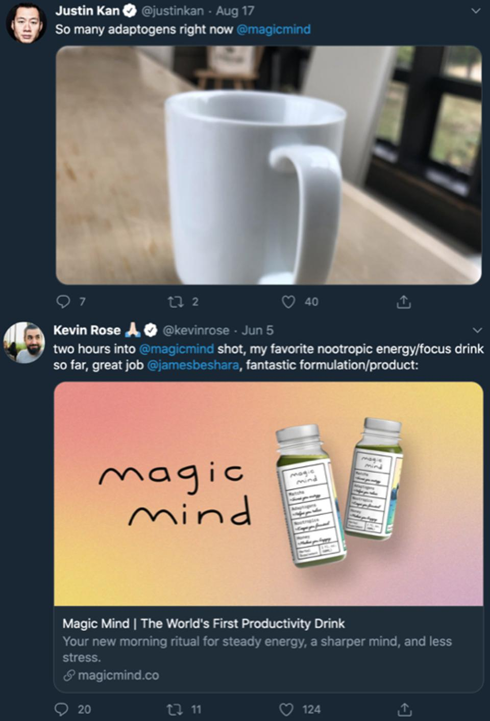 Justin Kan and Kevin Rose tweeting about Magic Mind in 2020