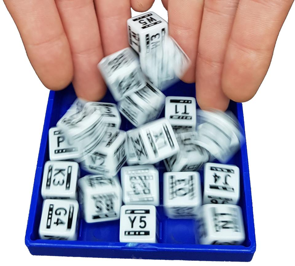 DiceKeys dice being rolled into a plastic box