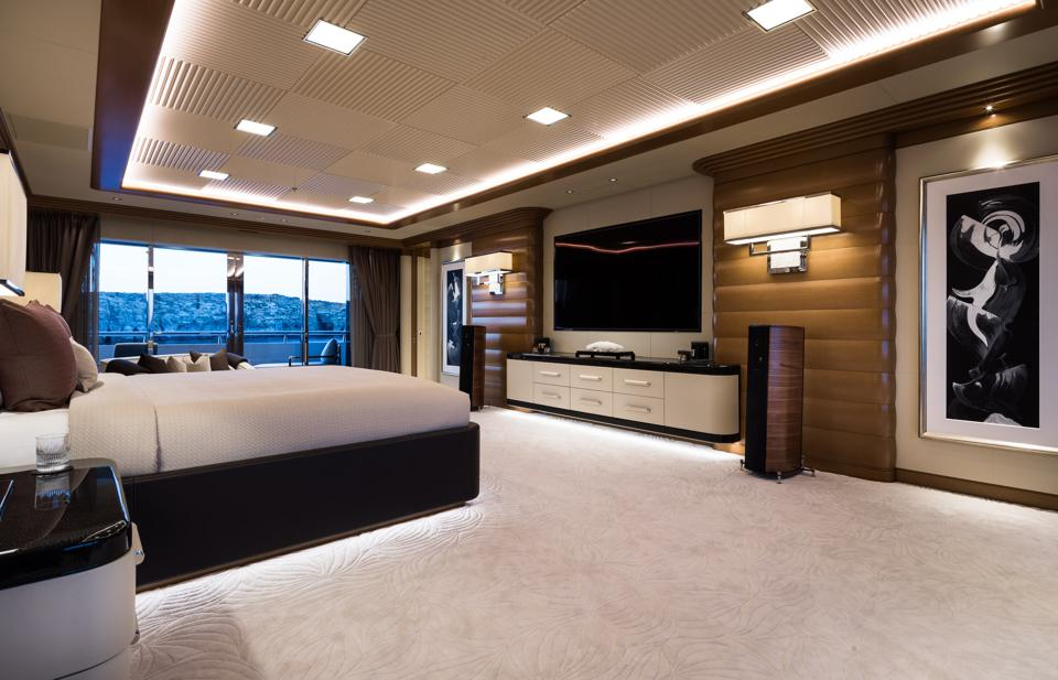 The master stateroom onboard the 351-foot-long superyacht LANA that Jay Z and Beyonce are reportedly chartering in Croatia.