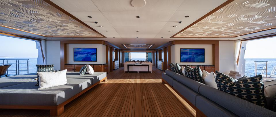 The massive beach club onboard the 351-foot-long superyacht LANA is one of the things that make it a truly superyacht.