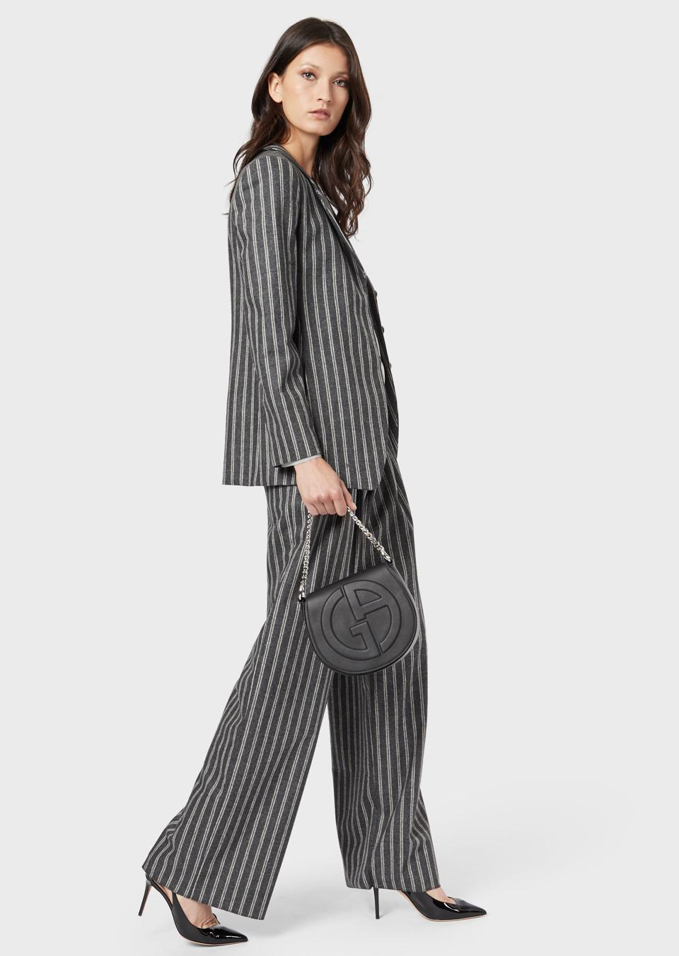 Pinstriped flannel jacket in wool and cashmere and Roomy, pinstriped flannel trousers in wool and cashmere.