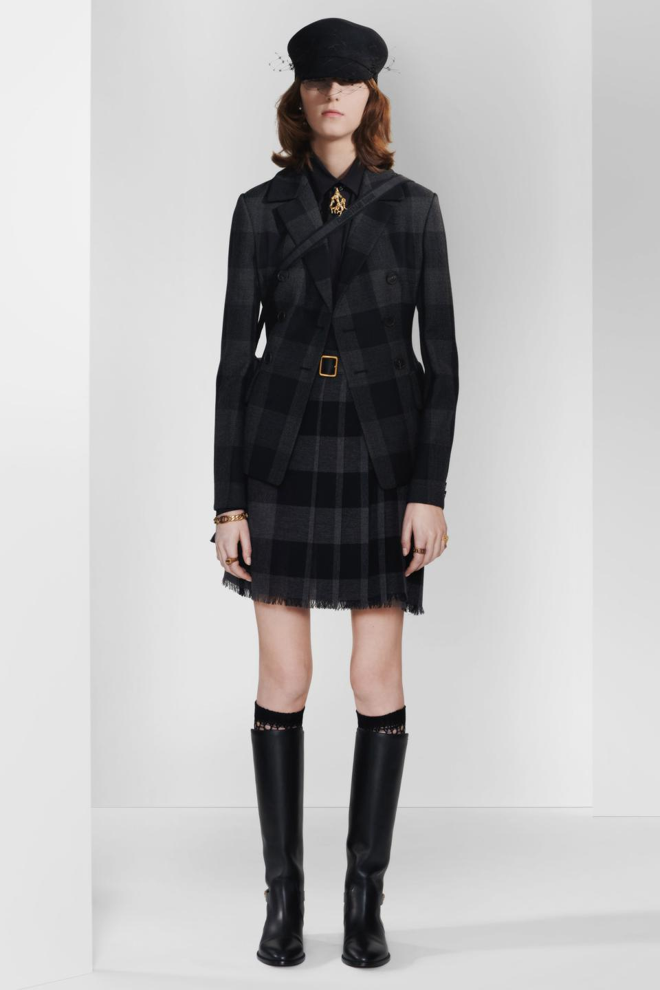 Black and Gray Checkered Wool Twill Single-Breasted Dior Jacket