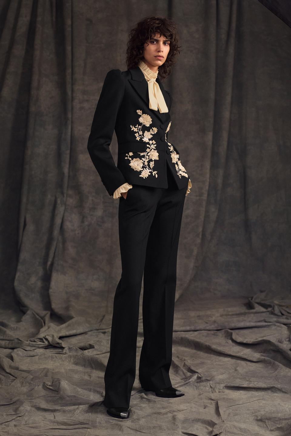 BLACK WOOL GABARDINE JACKET WITH MUSLIN FLORAL EMBROIDERY