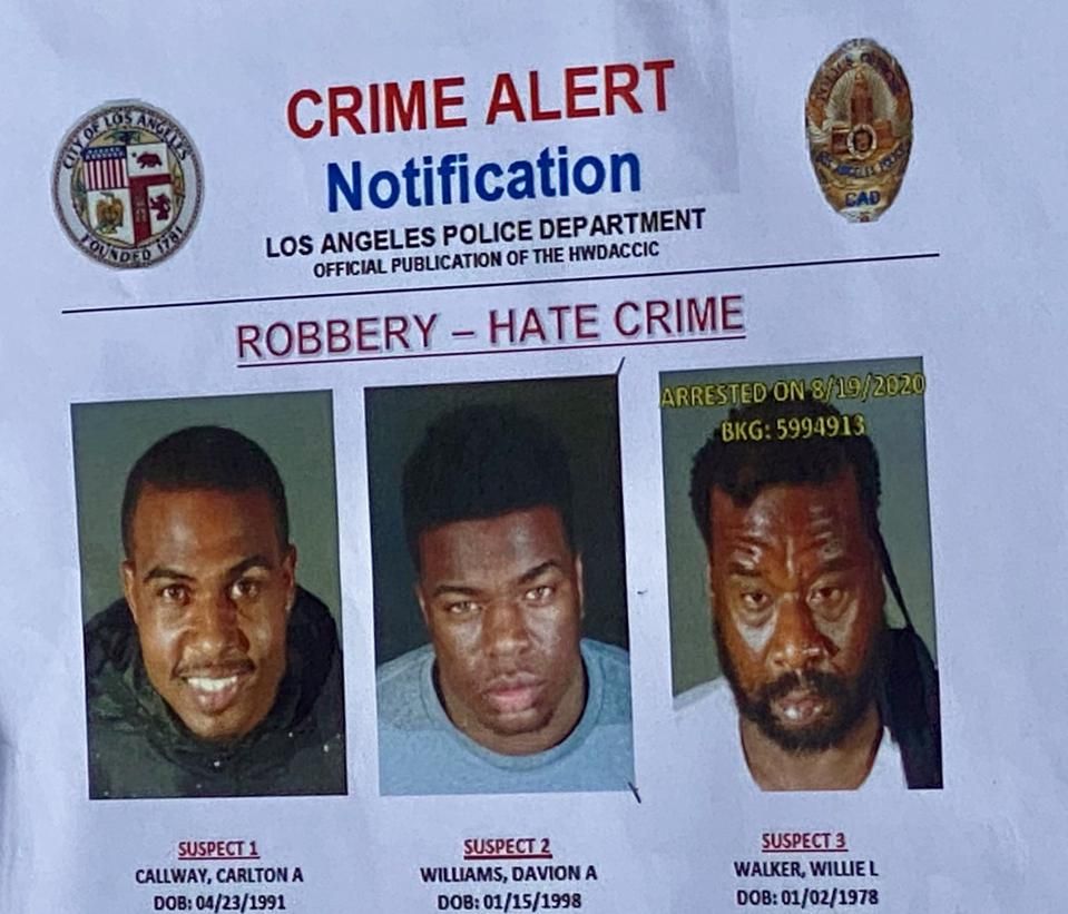 Posted by LAPD on Aug 21 2020, after arresting suspect 1 and 3 – but are still seeking suspect 2 in connection with this crime.