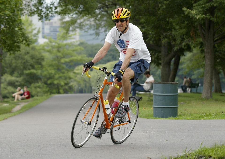 Kerry Rides Bike Before The Demoratic National Convention