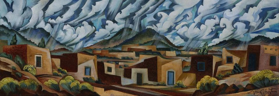 Tony Abeyta, ″Santa Fe Skyline,″ (2020). Oil on canvas 18 x 52 inches. Courtesy of the artist and The Owings Gallery.