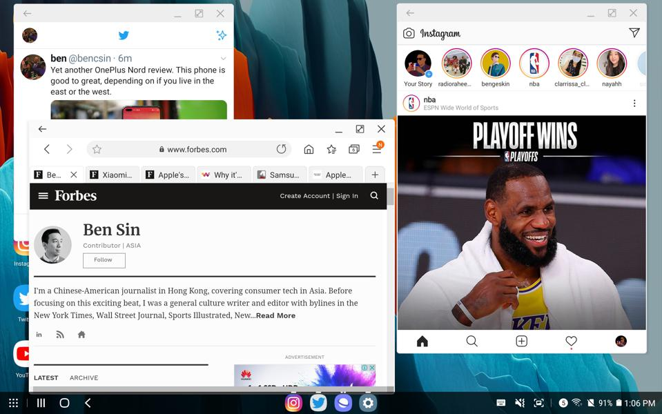 The Tab S7 Plus running Instagram, a web browser, and Twitter at the same time like a computer.