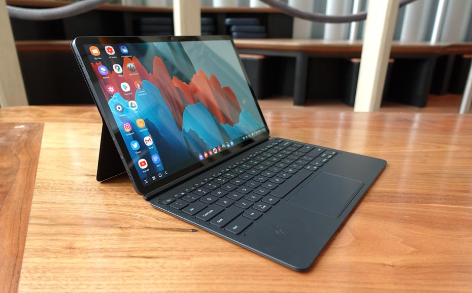 The Samsung Galaxy Tab S7+ with a keyboard case.