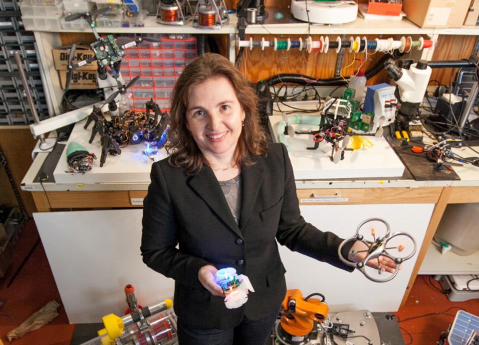 Daniela Rus with robotic artifacts.