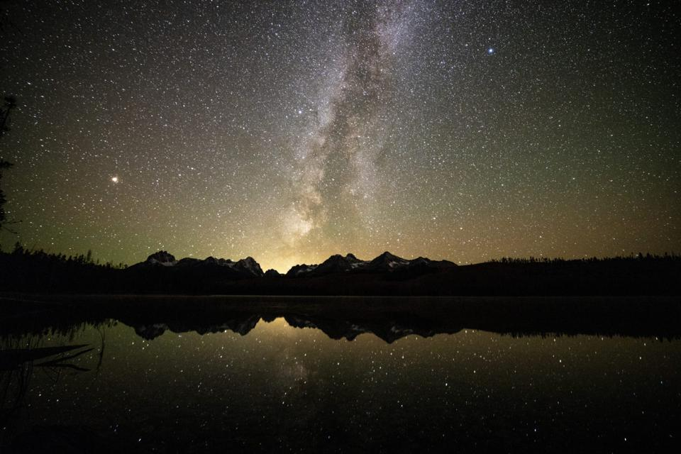 A nighttime scene at Sawtooth National Recreation Area.