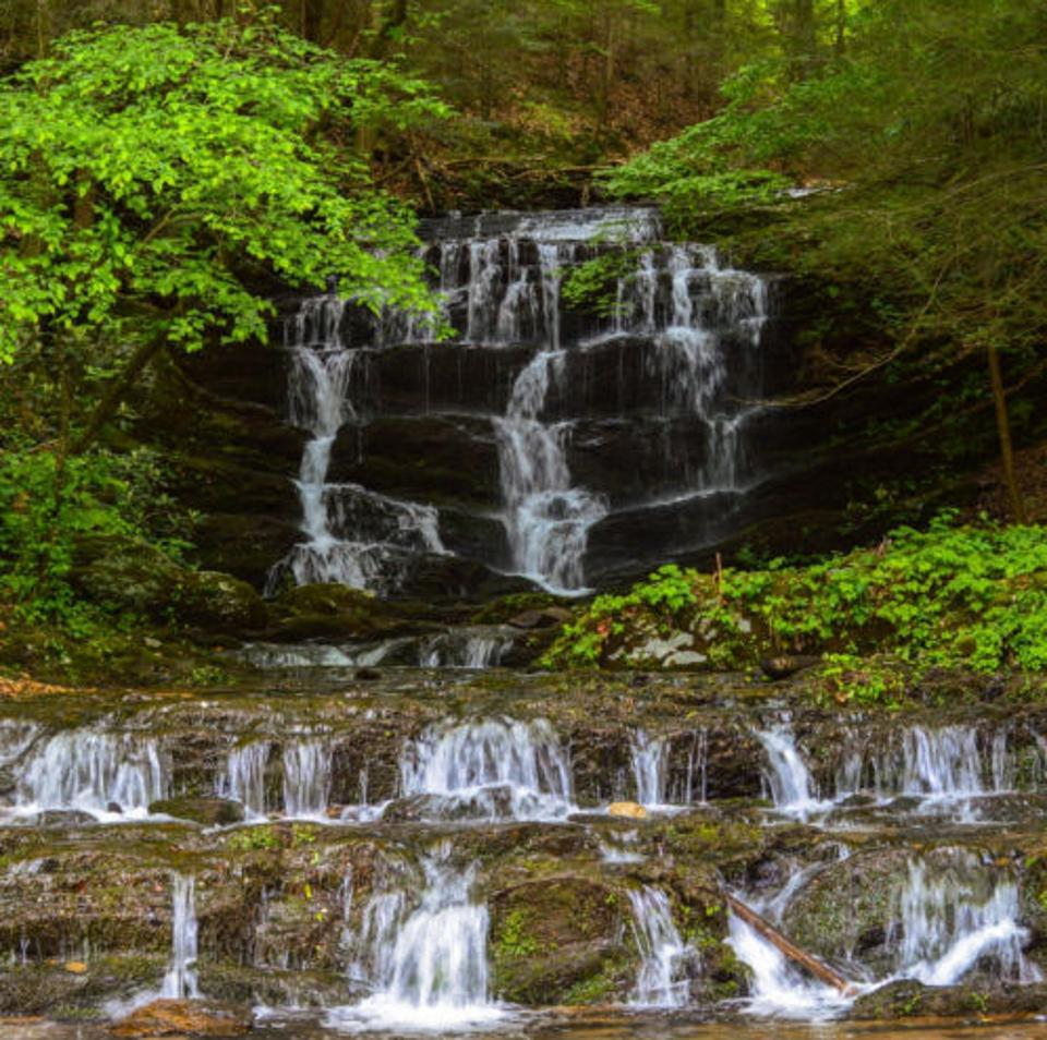 A waterfall gushes at Cherokee National Forest.