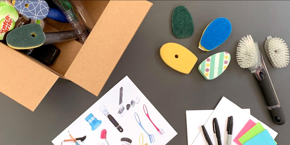 Physical inspiration kits with stimuli, mailed to participants prior to the brainstorm sessions.