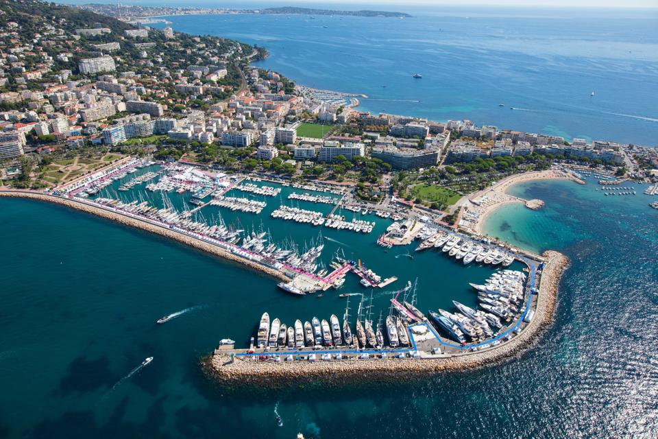 Boats and yachts are harboured in a marina in Cannes during the Cannes Yachting Festival