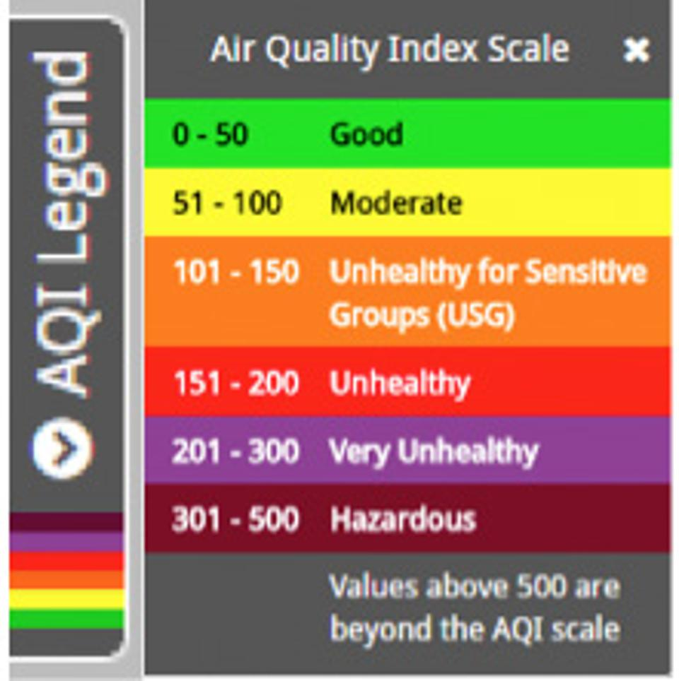Legend from AirNow.gov showing Air Quality Index Scale