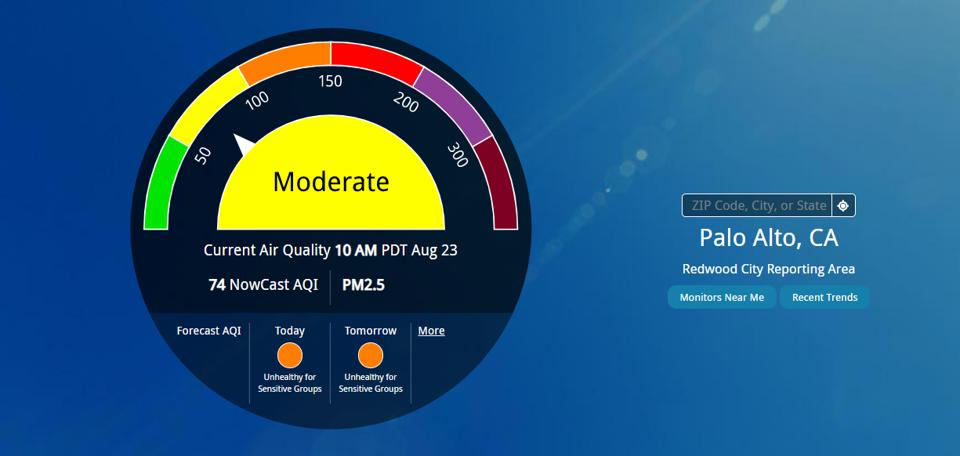 Here is air quality in Palo Alto, but note that the ″reporting area″ is Redwood City, which is at least 10 miles away.