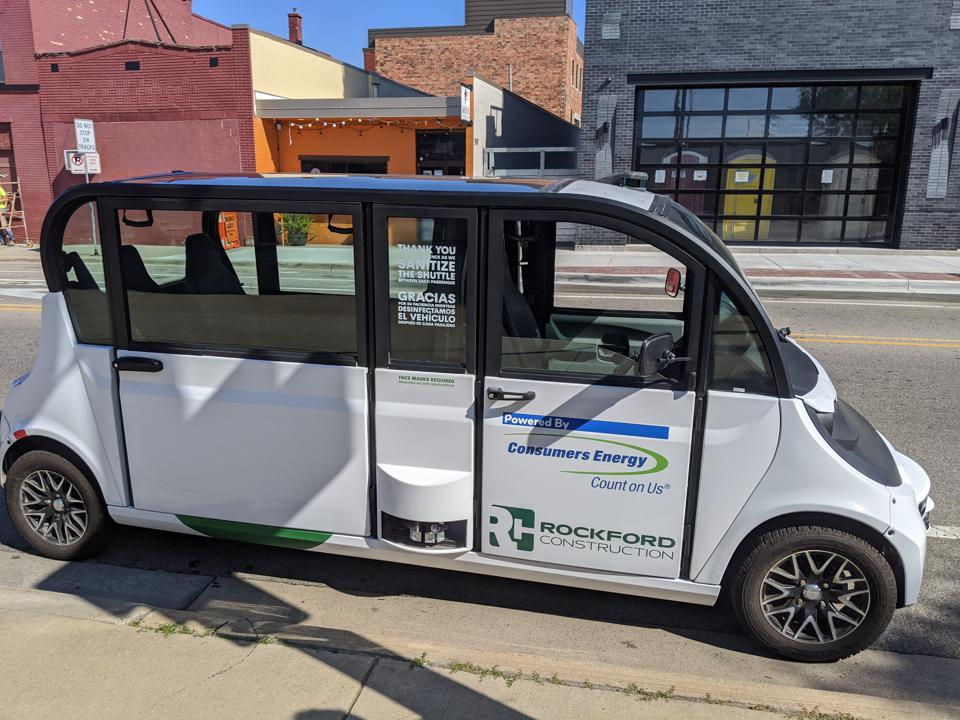 One of May Mobility's automated shuttles in Grand Rapids, Mich.