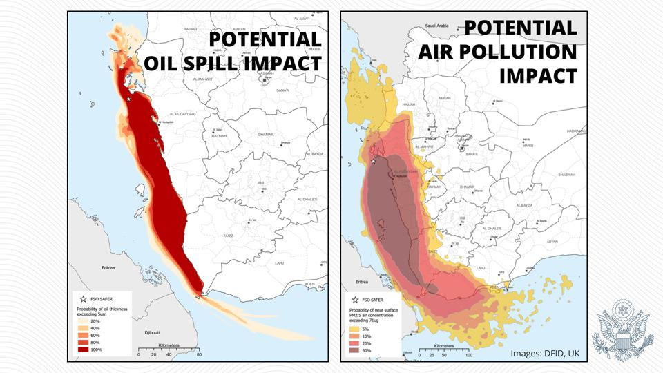 16 July 2020: In an assessment by UK's DFID, the impact of the oil pollution and associated air pollution can be seen along the entire Red Sea