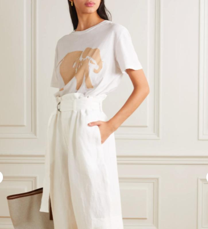 White linen belted trousers by Bassike for Space for Giants at NET-A-PORTER