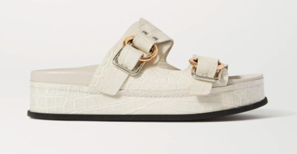Off white croc effect platform sandals by 3.1 PHILLIP LIM for Space for Giants at NET-A-PORTER