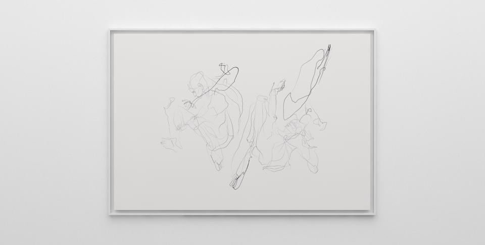 Sougwen Chung, Corpus VI from the series ( distance ) in place, 2020, graphite on paper   collaboration with D.O.U.G._5.