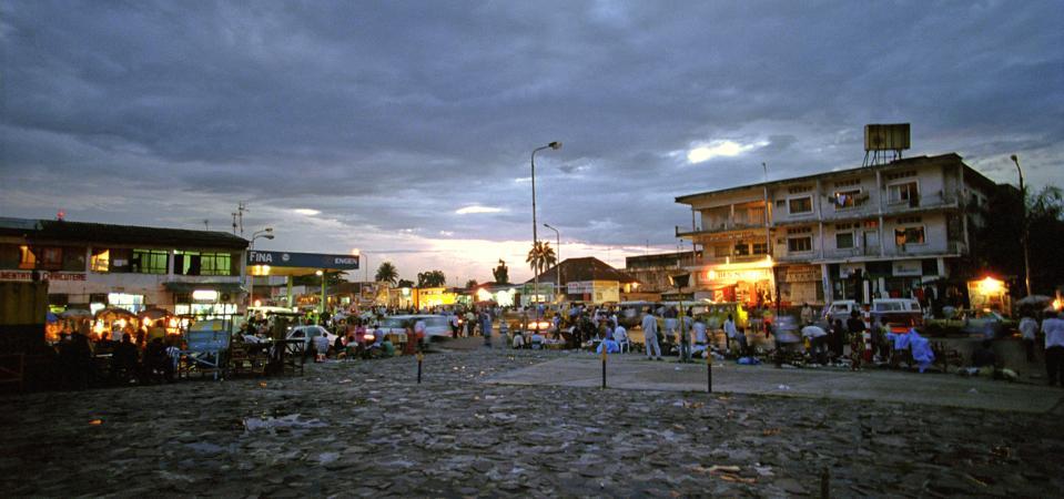 A Plaza At Night In Kinshasa