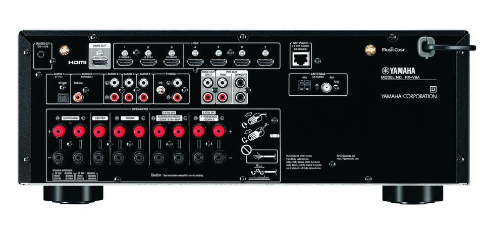Rear-view of Yamaha RX-V6A AV receiver