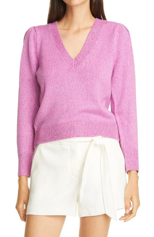 Veronica Beard Kenia V-Neck Merino Wool Blend Sweater
