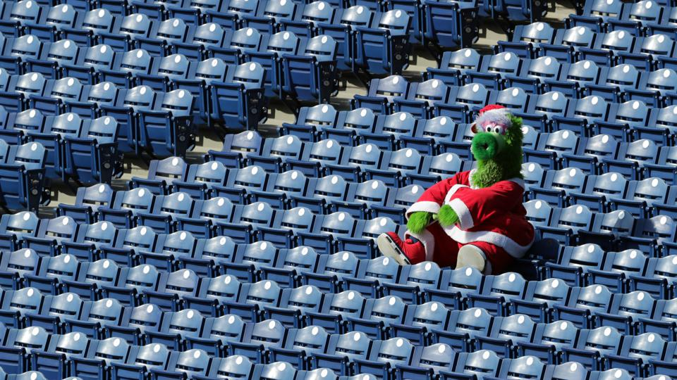 The Phillie Phanatic sits alone in the stands during a game between the Miami Marlins and the Philadelphia Phillies at Citizens Bank Park