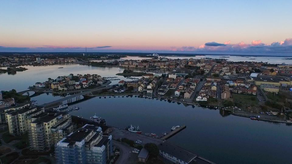 Sunset over Saltö Fish Harbor in Karlskrona, Sweden