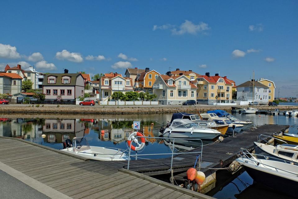 Speedboats moored in the bay in Karlskrona - Sweden