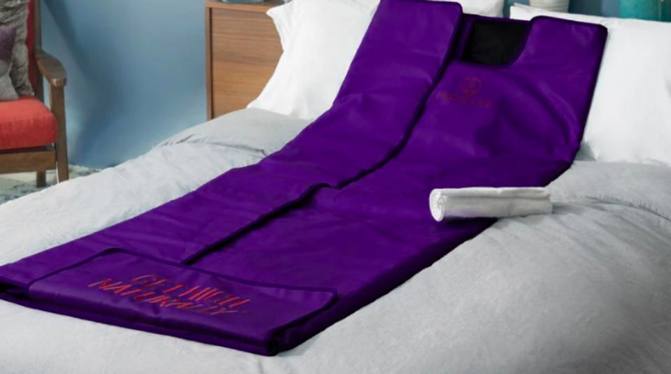 The HigherDose infrared blanket is perfect for the anxious or uneasy traveler.