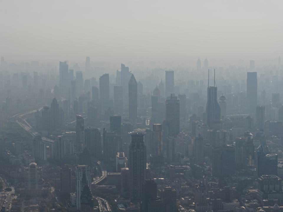 Aerial view of Shanghai city in fog