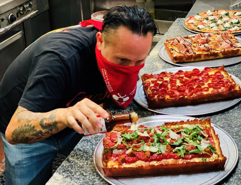 Chef Tony Gemignani and his new Detroit-style pizza.