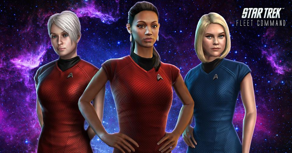 Star Trek Fleet Command mobile game characters Zahra, Nyota Uhura, and Dr. Carol Marcus
