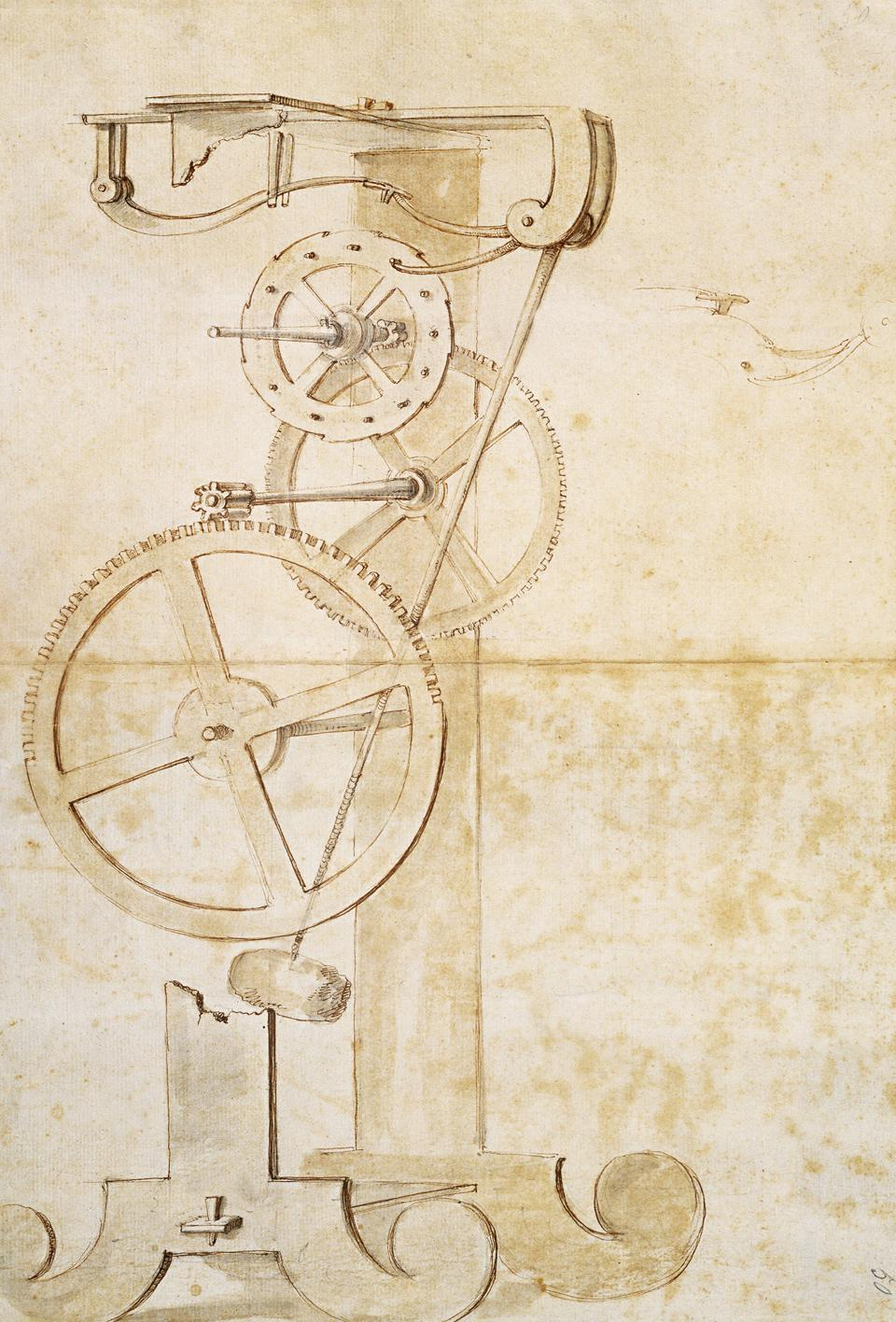 Drawing of Galileo's pendulum clock from circa 1637.