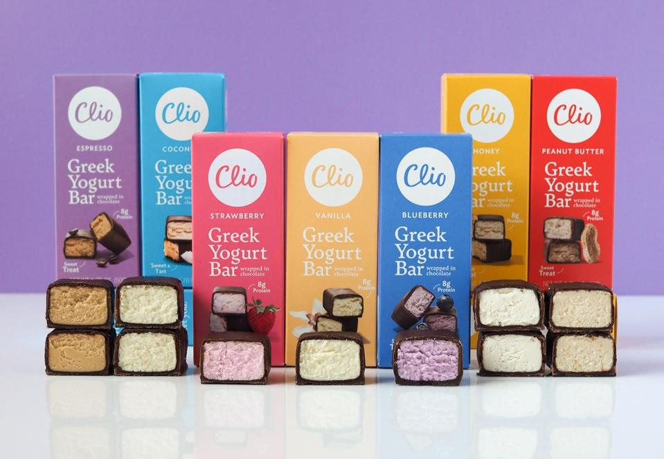 Clio Snacks offers a line of chocolate-covered Greek yogurt bars.