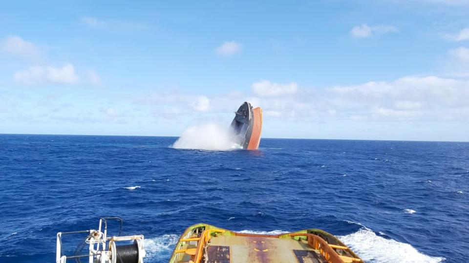 24 August 2020: photos just released show the forward section of the 300m long Japanese iron ore carrier, The Wakashio - one of the largest vessels in the ocean - being deliberately sunk