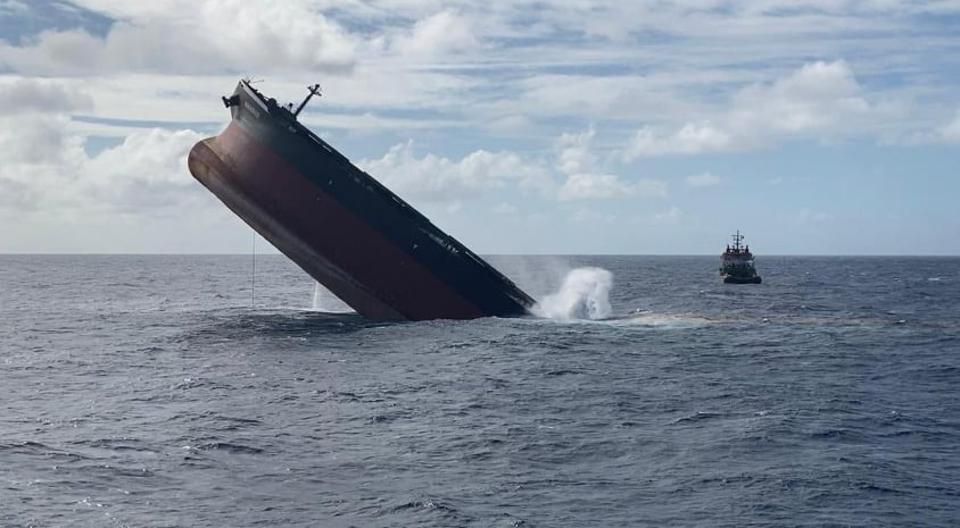 24 August 2020: dramatic final photos as the bow of Panama-flagged, Japanese-owned MV Wakashio can be seen rising several meters high in the air over the blue waters of what is believed to be the Indian Ocean