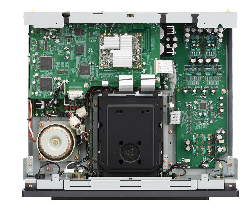 Overhead view of the internals of the Marantz SACD 30n network player