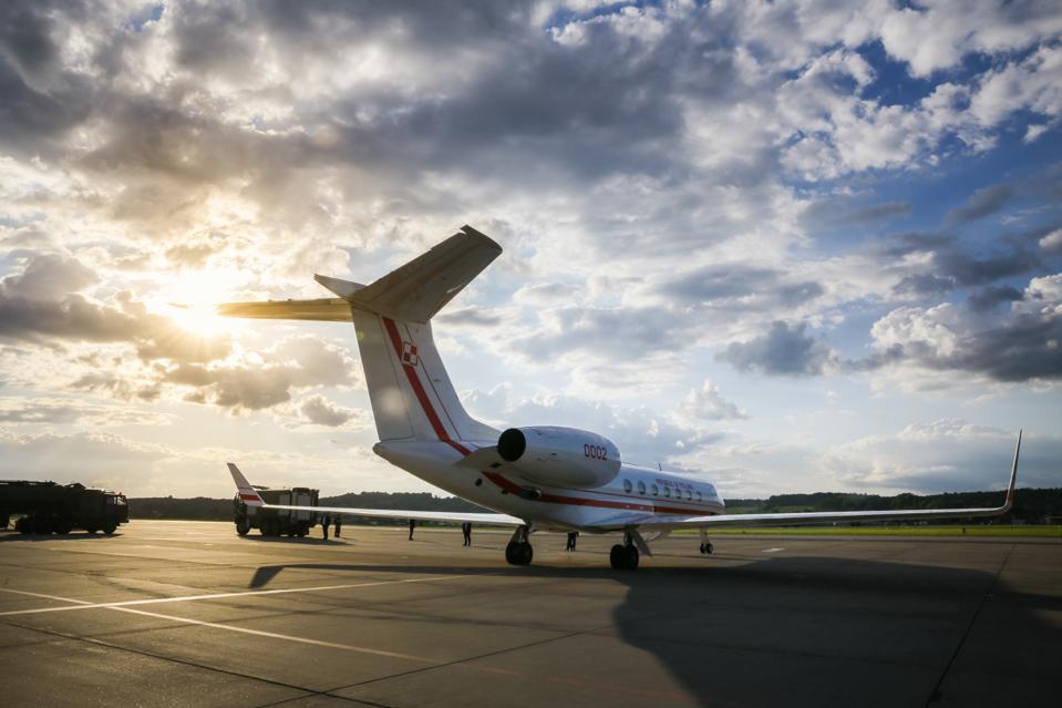 Polish Presidential Gulfstream G550 jet plane seen at the...